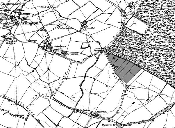 map showing bayley s lane and possible site of pottery shaded area